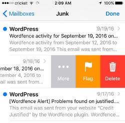 Screenshot of iPhone swipe left screen